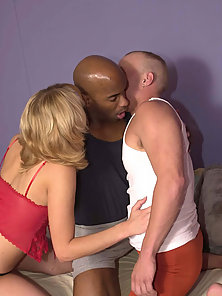 Two hunks and a babe bisexuals getting it on with sensual orgy play