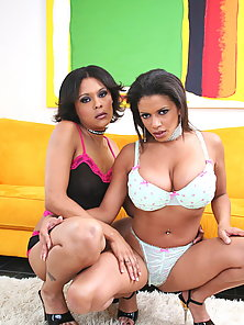 Hot ebony babes in a wild foreplay