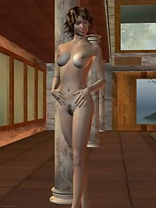 Nude 3D babe at the pool posing