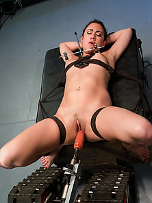 Dirty blonde gets bound, machine fucked both holes.