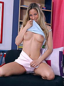 Big titty schoolgirl stripping and playing with a pink huge dildo