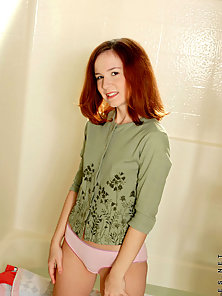 Teen in bathroom shows her pink panty and tease her sexy sweater