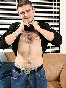 Hottie gay with hairy chest Dj stripping jeans and wanking his big shaft