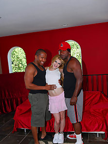 Skinny Blonde Chick Lita Gets Banged By Two Black Hunters