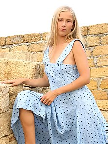 Such a cute teen hottie ljuba is outside and getting out of her sundre