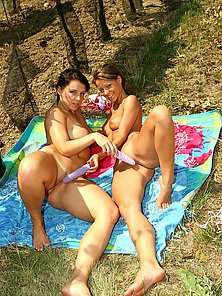 Sexy Melisan and Lena kissing and playing with their cute nipples