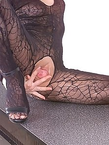 Nasty Babe Sitting Showing Legs and Foot in Net Stockings