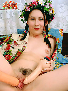 Innocent naked girl trying sex with vibrating dildo shoving it inside her pussy deeply