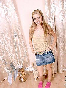 Attractive teen blonde posing on camera and watch till she gets totall