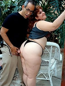 Curly Haired Red Head Sucking and Fucking Dick Outside