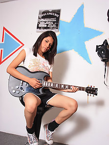 Adorable Latina Teen Plays Guitar and Exposes Yummy Shaved Twat
