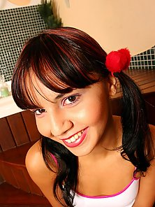 Pigtail Teen Babe Eagerly Waits For a Huge Ramming Action