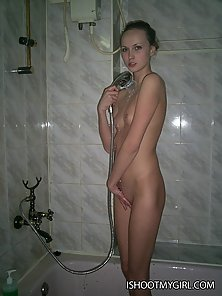 Watch our innocent nude beauty in the bathroom doing passionate blowjo