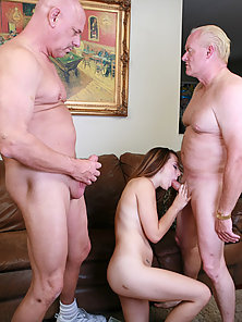 Sexy Skinny Chick Enjoying Threesome Sex with Two Old Men