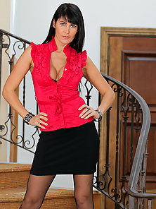 Sexy milf Eva Karera dazzles in her skin tight mini skirt and stockings
