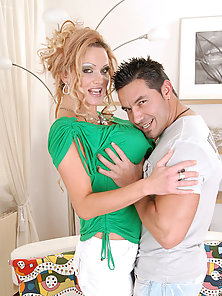 Busty Sharon Pink sucks the hard stiff cock of a hunk stud before she gets fucked hardcore