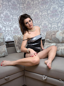 Dazzling Brunette Lady Exposes Her Semi Bare Body in Horny Mood