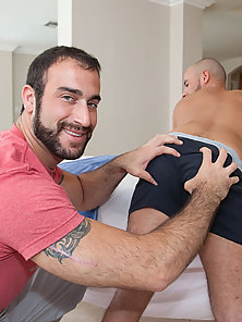 Taking his tight ass for a ride on the massage table!