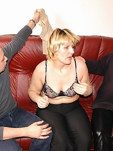 Lonely housewife giving in to horny fellows