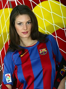Big Tits Brunette in Football Jersey Masturbating and Posing In Goal Post
