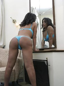 Bikini Wore Brunette Tranny Shows Erected Hard Dong in Bedroom