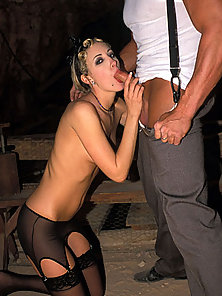 Angel Long in black stockings riding a long penis with her vagina
