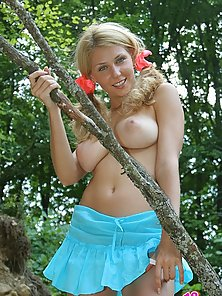 Take a look under Cleo's skirt and watch this blonde strip naked revea