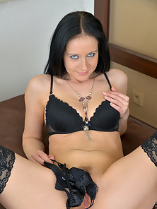 Stocking Wore Brunette Mom Exposes Her Nice Pink Twat on Bed