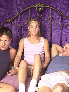 Young and fresh first bi-timers in mad sexual erotica display