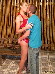 Naughty Shemale Wildly Rammed By Hunky Boy in Doggy Style