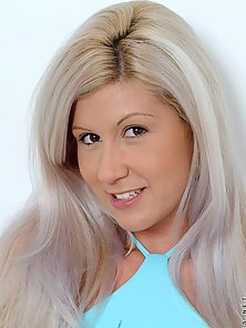 Sweet teenie blonde andrea shows off her small tits taking off her blue