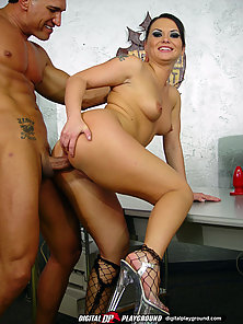 Fierce Katja Kassin dressed in all black and fishnets spits all over a dick before sticking it in he