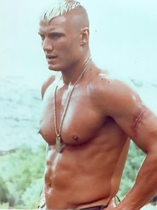 Sexy photos of a young and shirtless ripped Dolph Lundgren