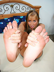 Cute tattoed blonde plays with her sexy feet before getting deep dicked fucked