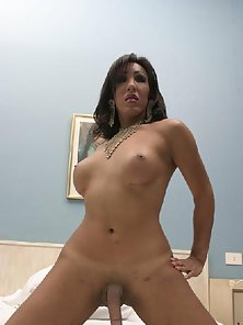 Naughty Busty Tranny Jerking Her Giant Stud in Wild Mood