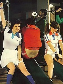 Four retro girlies getting fucked during fitness lessons