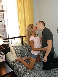 Well-tanned blonde has anal sex with guy on these pics
