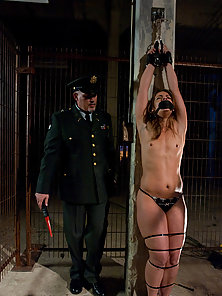 Ten dominated and fucked in role play bondage.