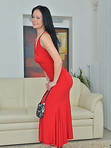 Alluring Brunette Milf Represening Her Hot Figure with Gorgeous Red Lingerie