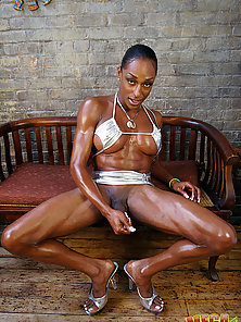 Black Tgirl stroking her dick till completion