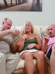 Naughty Blonde Lady Gets Banged By Two Hunky Men for Money