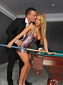 Very hot hardcore fucking action on a pooltable