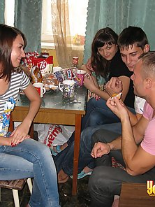 Guys and girls in exciting foursome young sex party