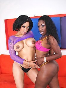 Horny chocolate beauties licking