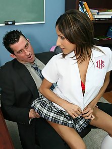 Cute petite private schoolgirl takes a huge cock in her tight little p