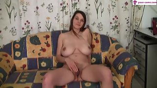 Busty Brunette Whore Masturbated Hairy Fanny by Toy Before Cock Penetration