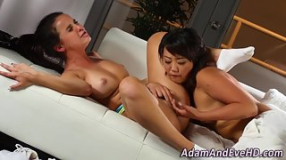 Petite Brunette Coed Gets Juicy Twat Licked and Fingered with Orgasm