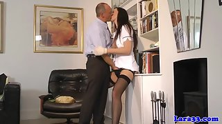 Glamorous Busty Milf Gets Finger Fucked by Boss after Hot Kissing in Office