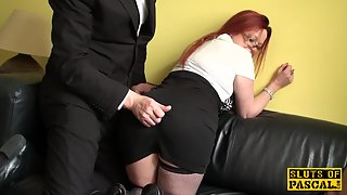 Busty Redhead Slut Spreads Fanny and Gets High Stroked