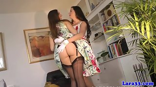 Stunning Lesbian MILF Caressed by Babe in Stockings and Suspenders